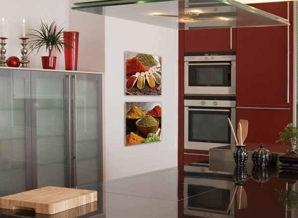 Glasbild Gewürzkellen in der Küche