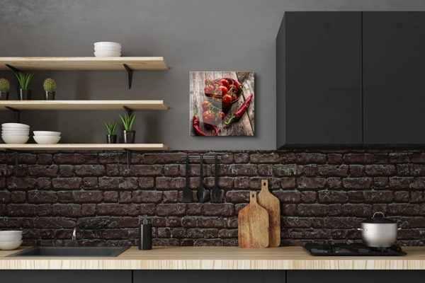 Glasbild Peperoni und Tomaten in der Küche