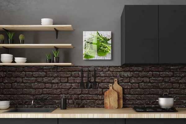 Glasbild Kräutermix in der Küche